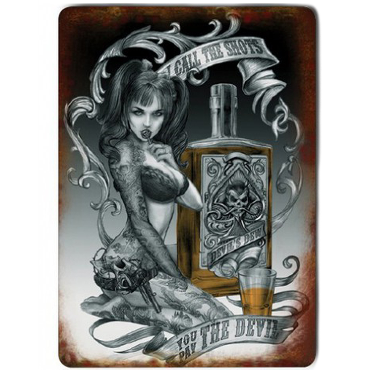 Magnet métal rétro \'You pay the Devil\' tatouage gothique - 9x65 cm - [Q9208]