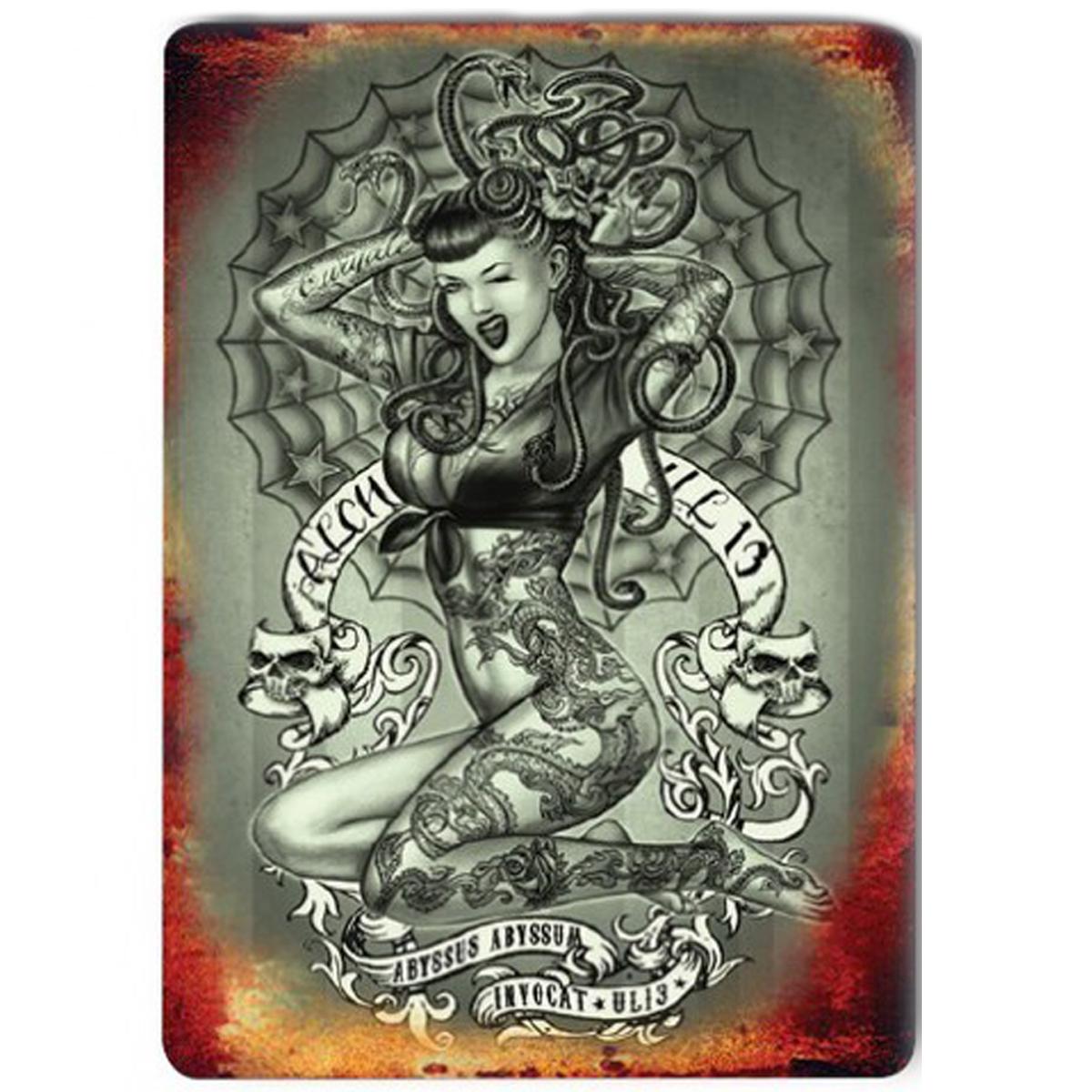 Magnet métal rétro \'If looks could kill\' tatouage gothique - 9x65 cm - [Q9209]
