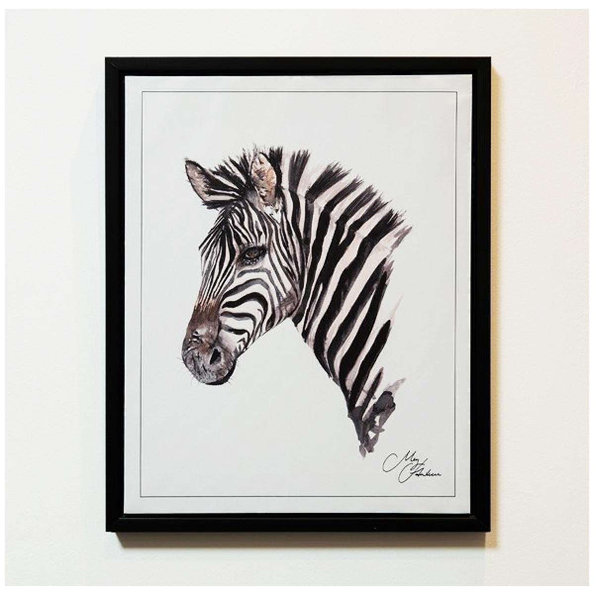 Cadre aquarelle \'Zèbre\' noir blanc - 50x40 cm - [Q9802]