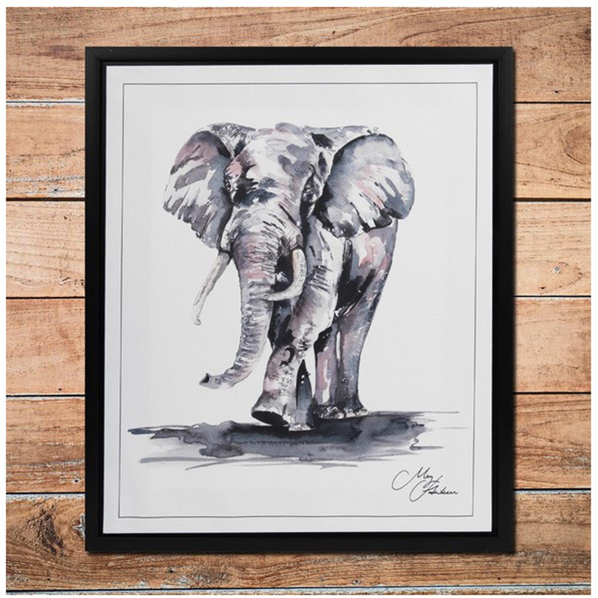 Cadre aquarelle \'Eléphant\' noir blanc - 50x40 cm - [Q9803]