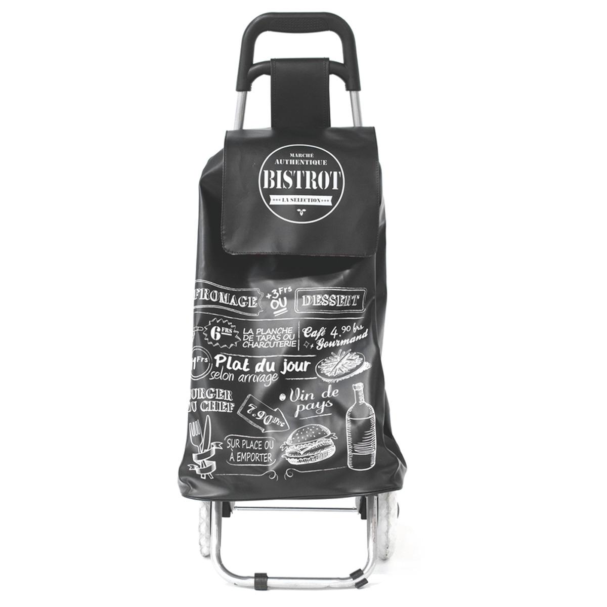 Caddy de course / Chariot shopping \'Bistrot\' noir - 91x37x27 cm - [R0347]