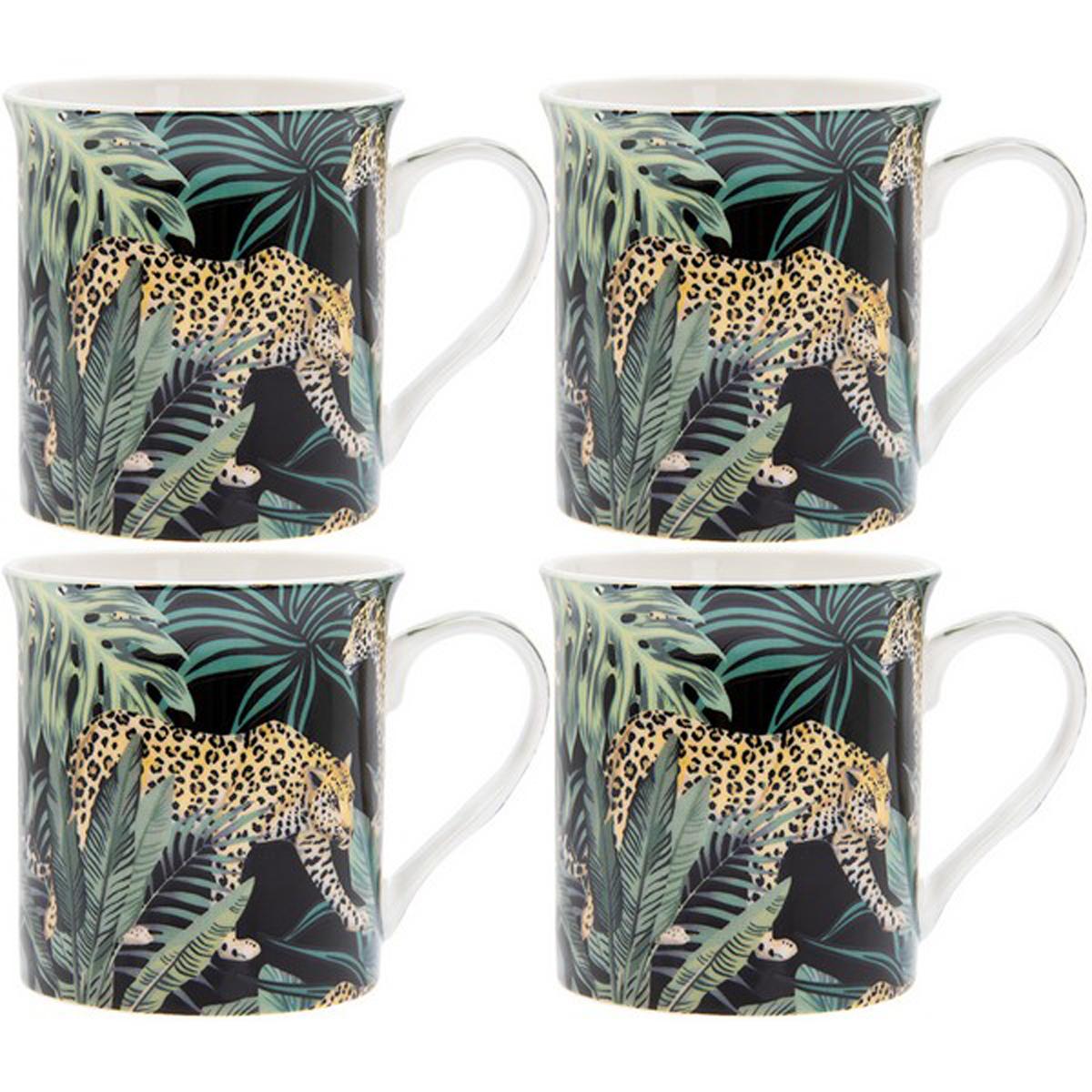 Coffret mugs porcelaine \'Jungle Fever\' vert noir (4 mugs) - 85x85 mm (léopard) - [R0473]