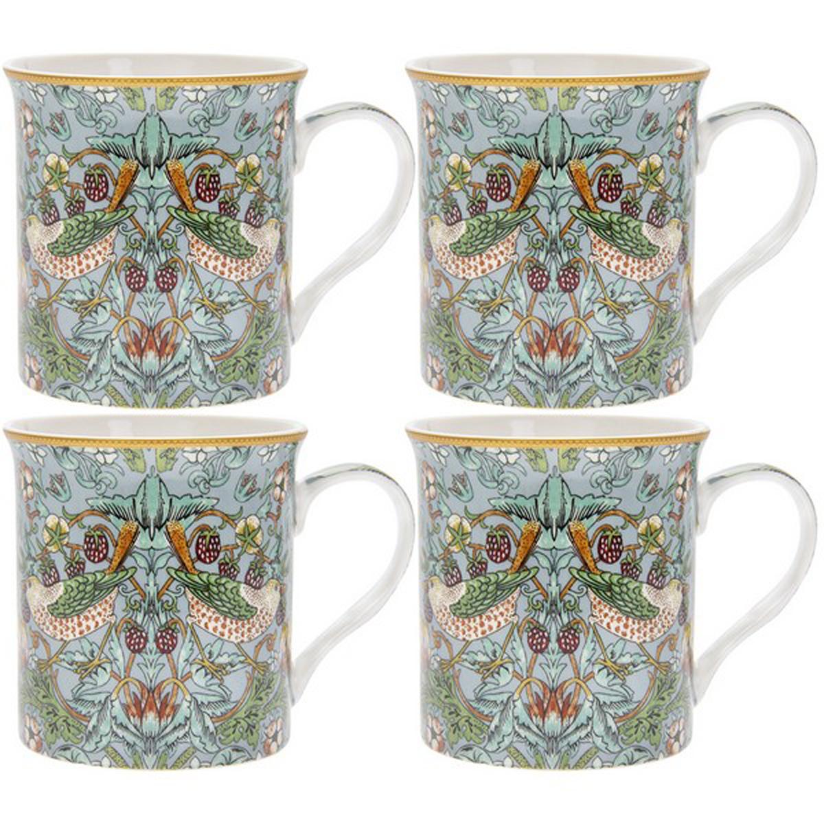 Coffret mugs porcelaine \'William Morris Collection\' vert - Strawberry Thief (4 mugs) 85x85 mm - [R0604]