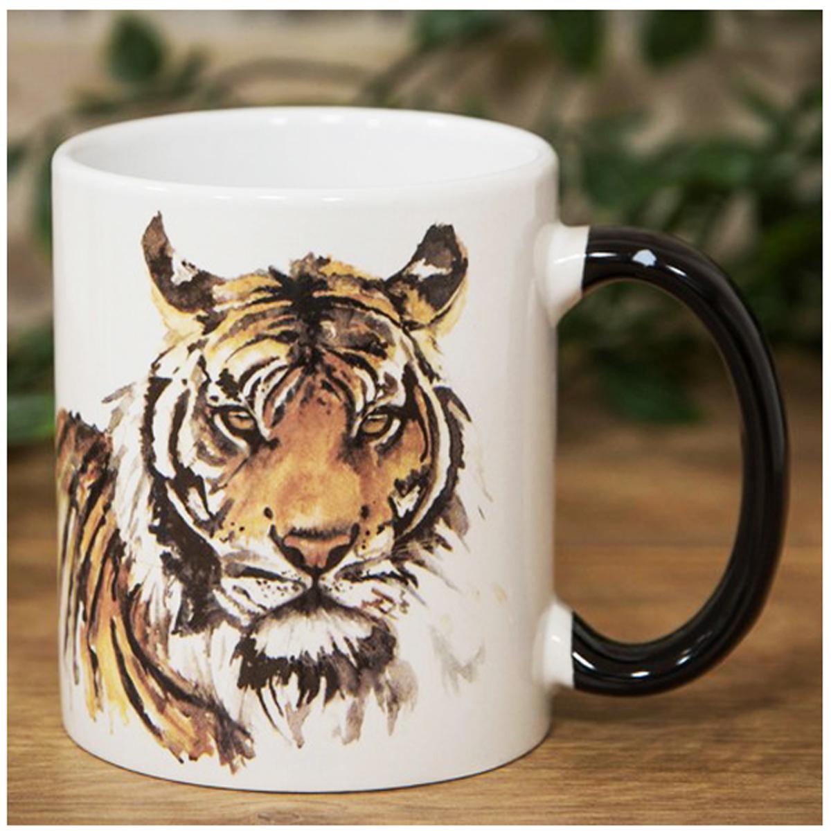 Mug Céramique \'Tigre\' marron blanc - 9x85 cm - [R1459]