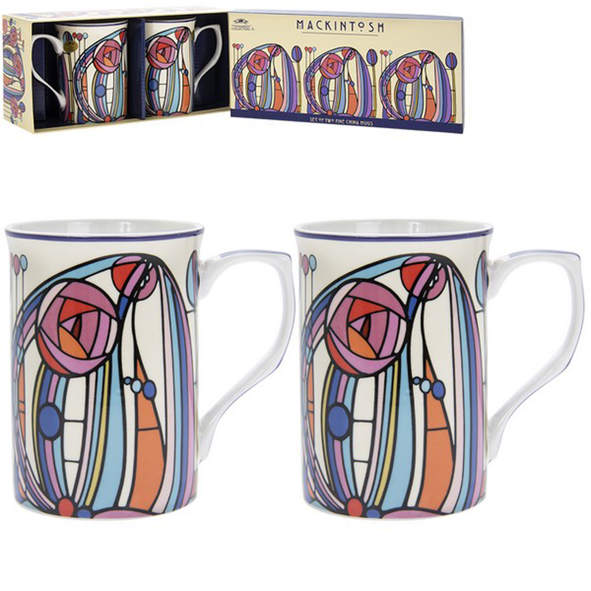 Coffret 2 mugs porcelaine \'Mackintosh\' multicolore - 10x75 cm - [R1770]