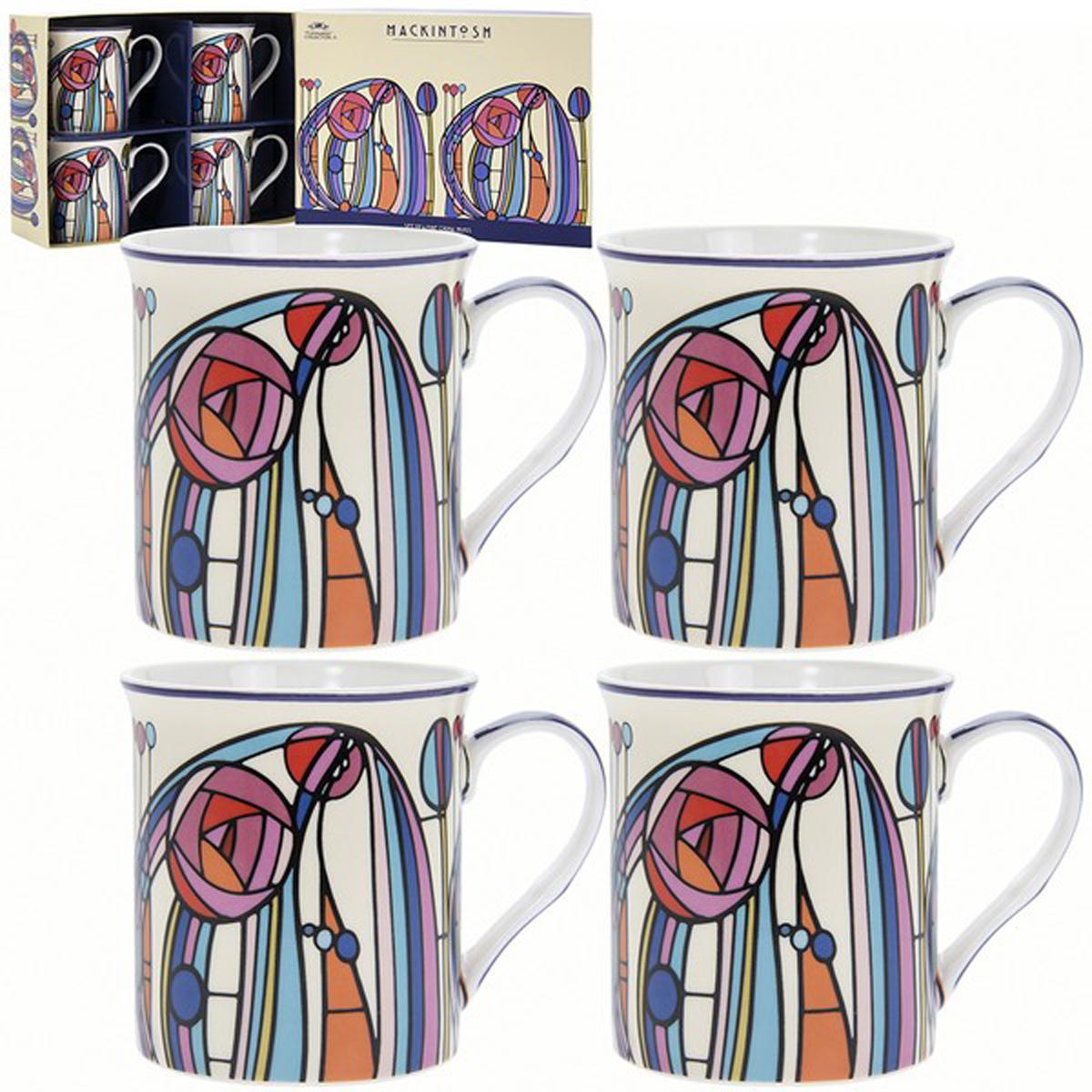 Coffret mugs porcelaine \'Mackintosh\' multicolore (4 mugs) - 85x85 mm  - [R1771]