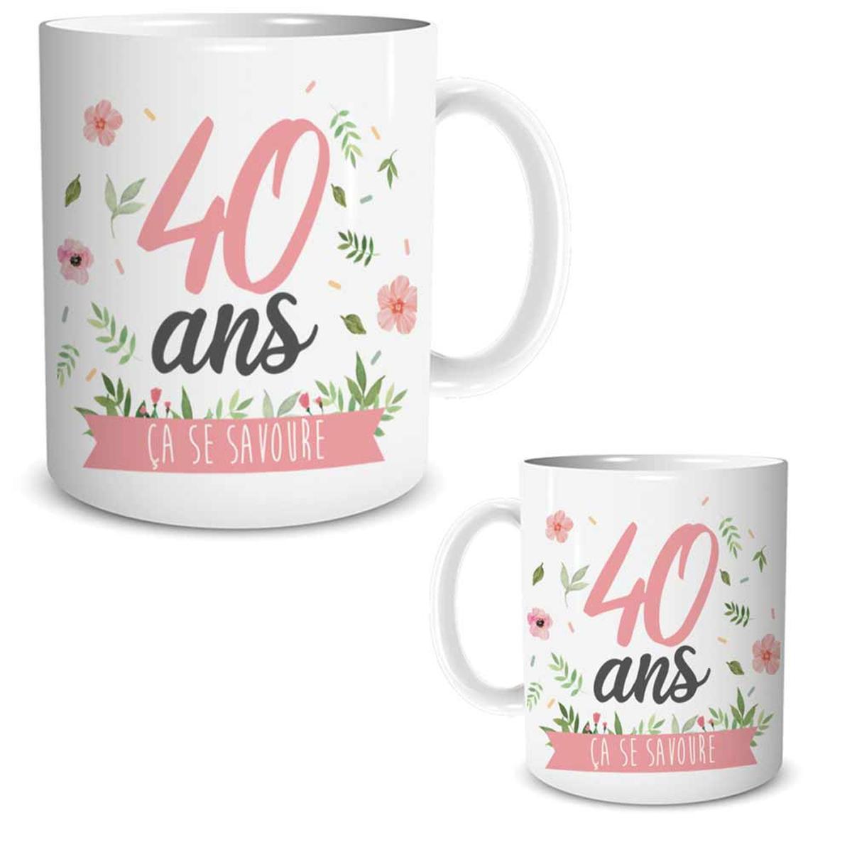 Mug céramique \'40 ans\' blanc rose (ça se savoure) - 95x80 mm - [R1878]