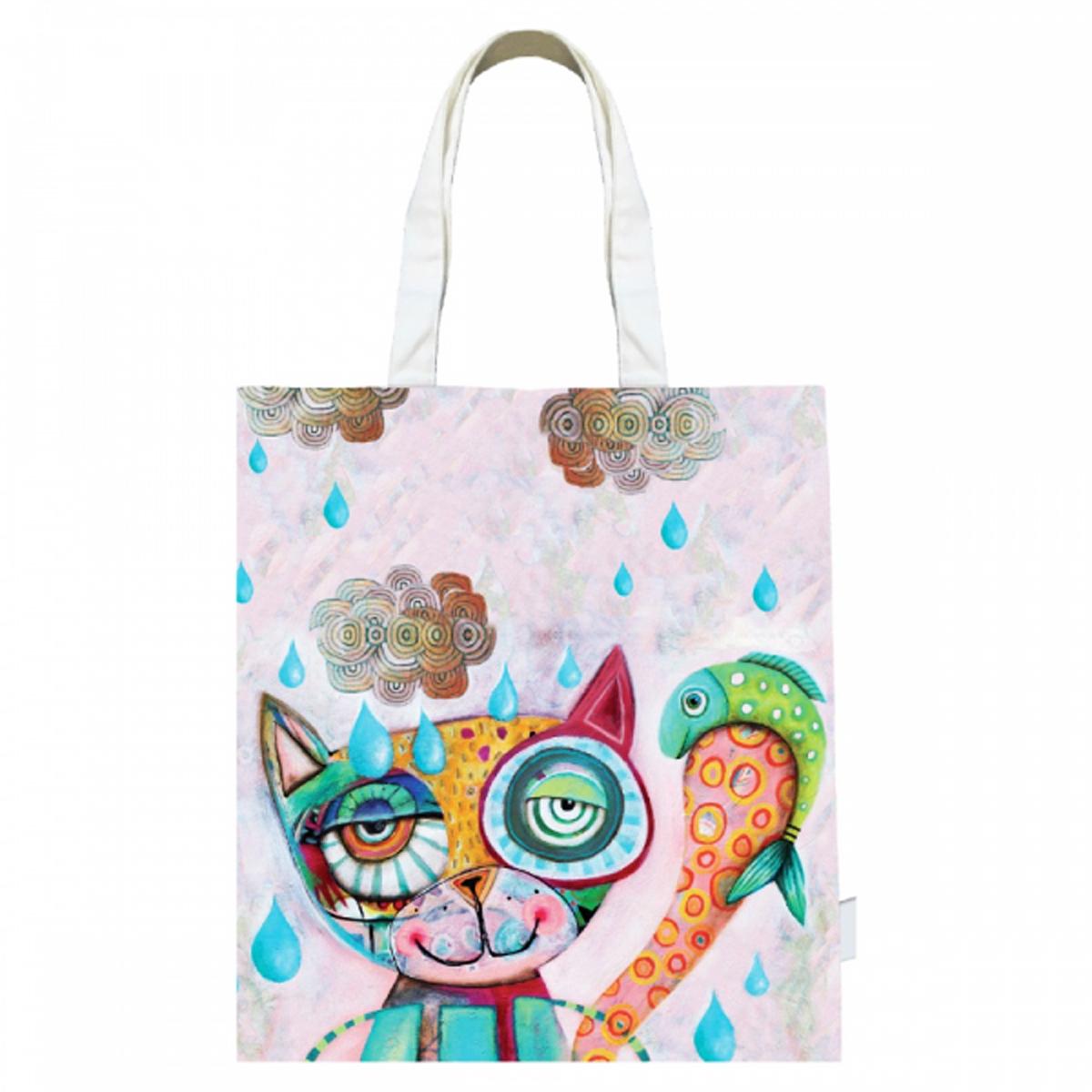 Sac coton / tote bag \'Allen Designs\' rose multicolore (chat) - 43x39 cm - [R1953]