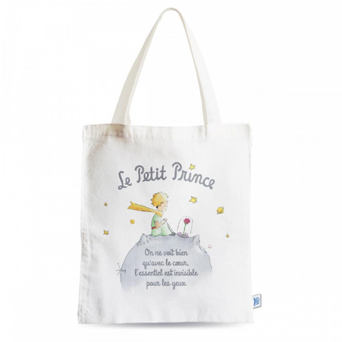 Sac coton / tote bag \'Le Petit Prince\' blanc gris - 44x38 cm - [R2013]