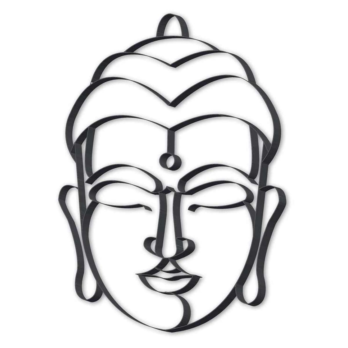 Décoration métal XXL \'Bouddha\' noir - 815x615x25 cm - [R2079]