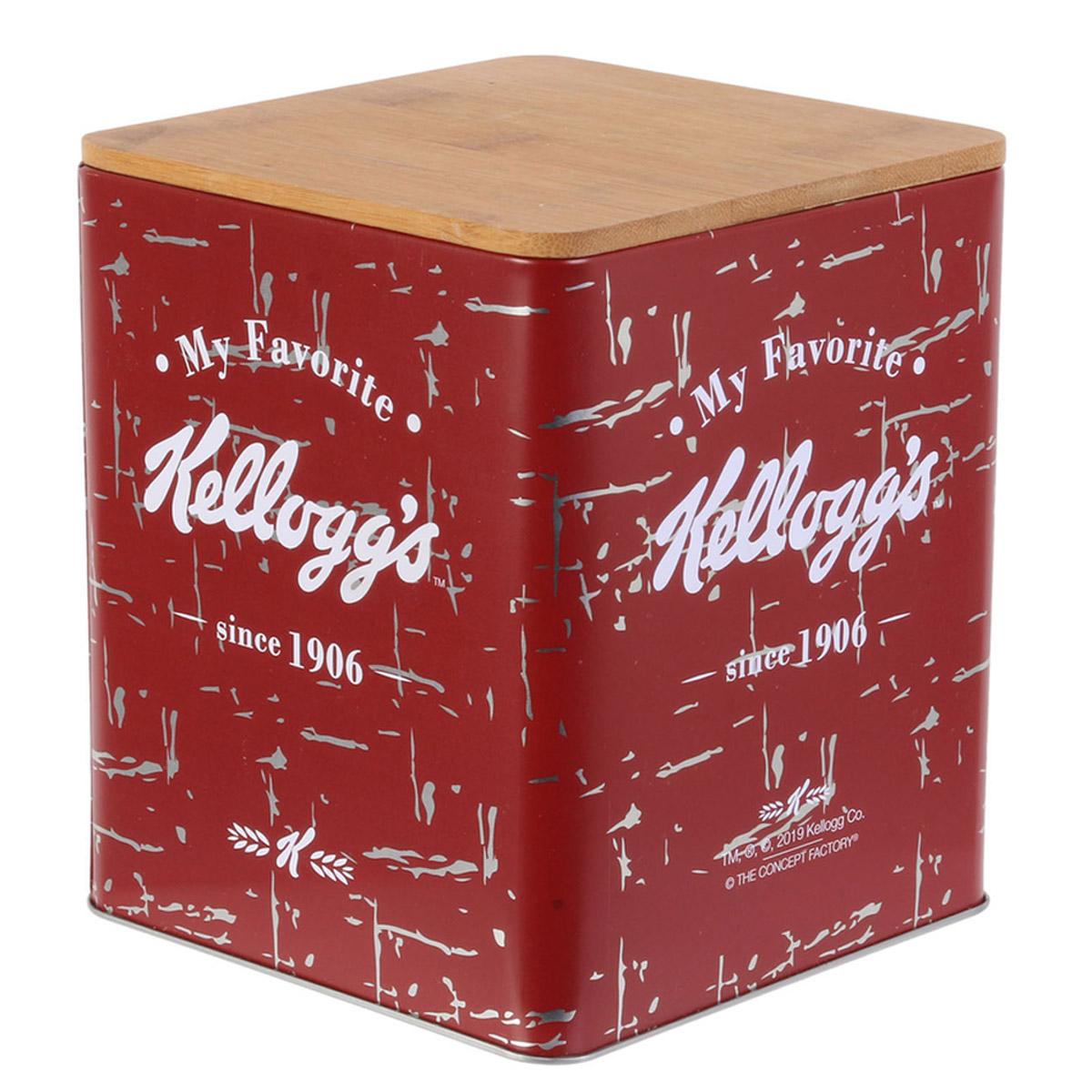 Boite métal bois \'Kellogg\'s\' rouge - 16x14x14 cm - [R2439]