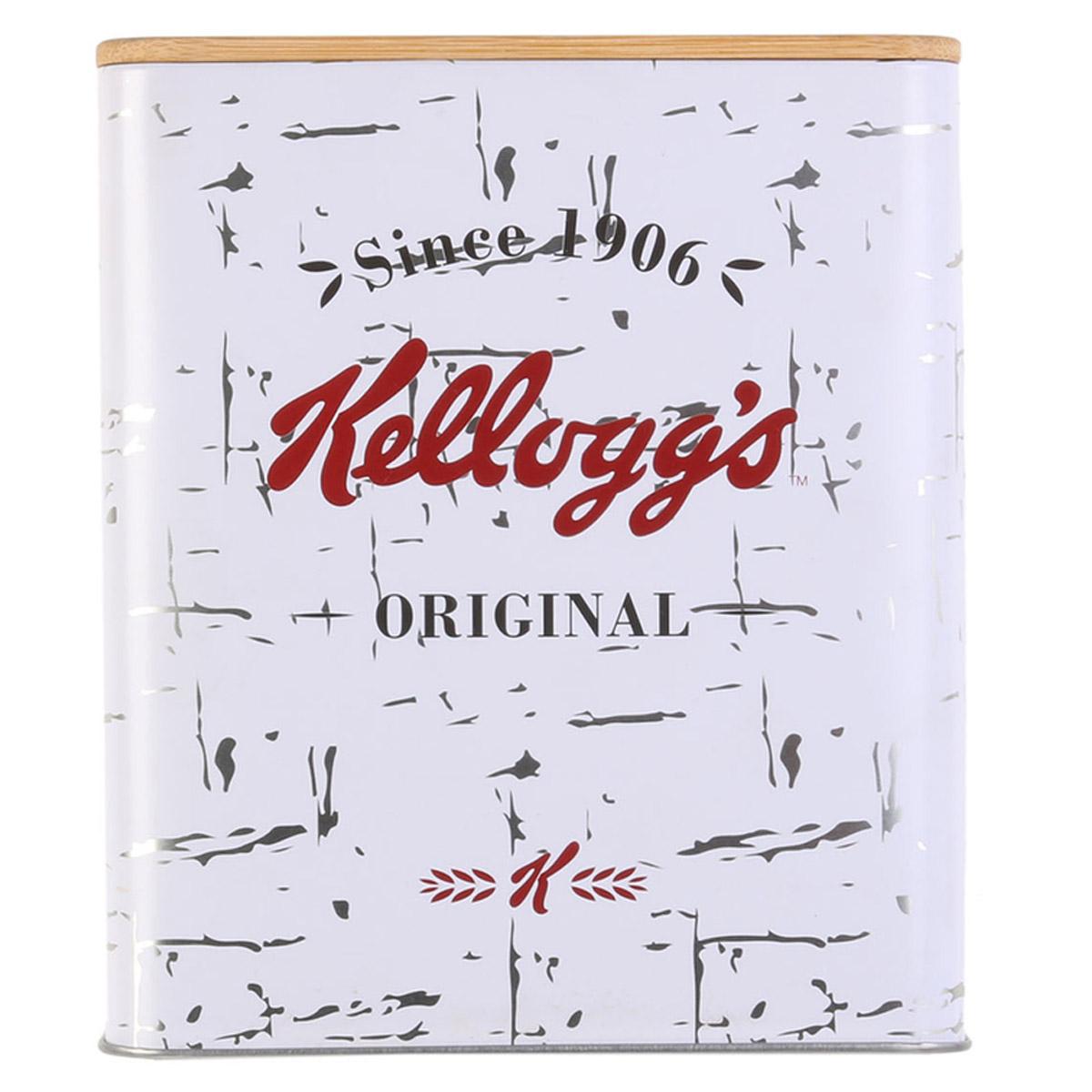 Boite métal bois \'Kellogg\'s\' blanc - 16x14x14 cm - [R2440]
