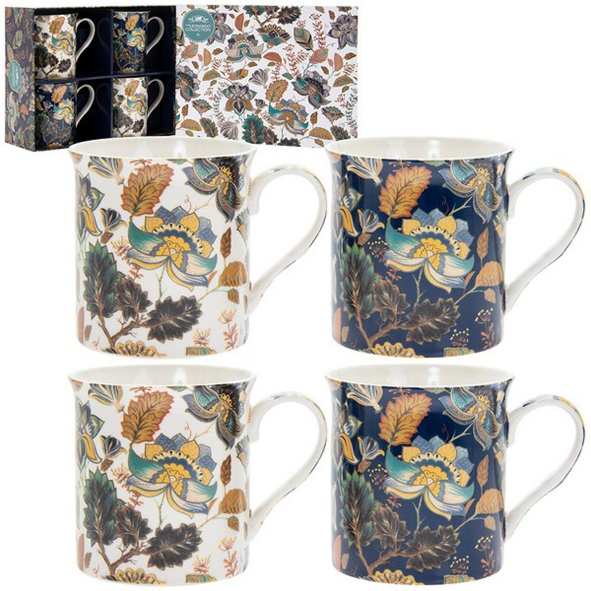 Coffret mugs porcelaine \'Aurora\' bleu blanc (4 mugs) - 85x85 mm  - [R2677]