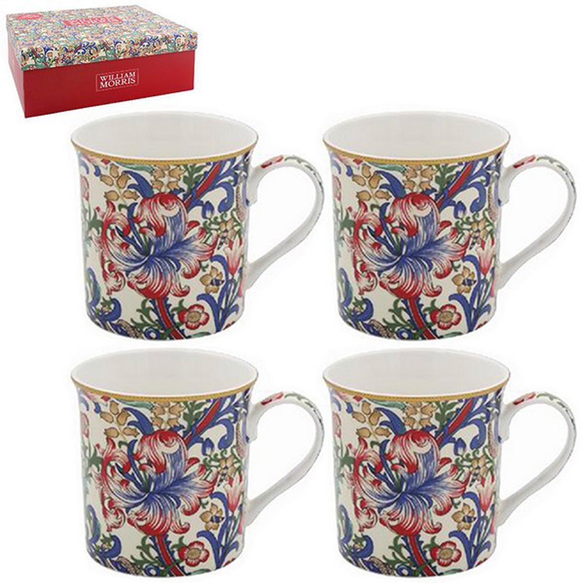 Coffret mugs porcelaine \'William Morris Collection\' - Golden Lily (4 mugs) 85x85 mm - [R2680]