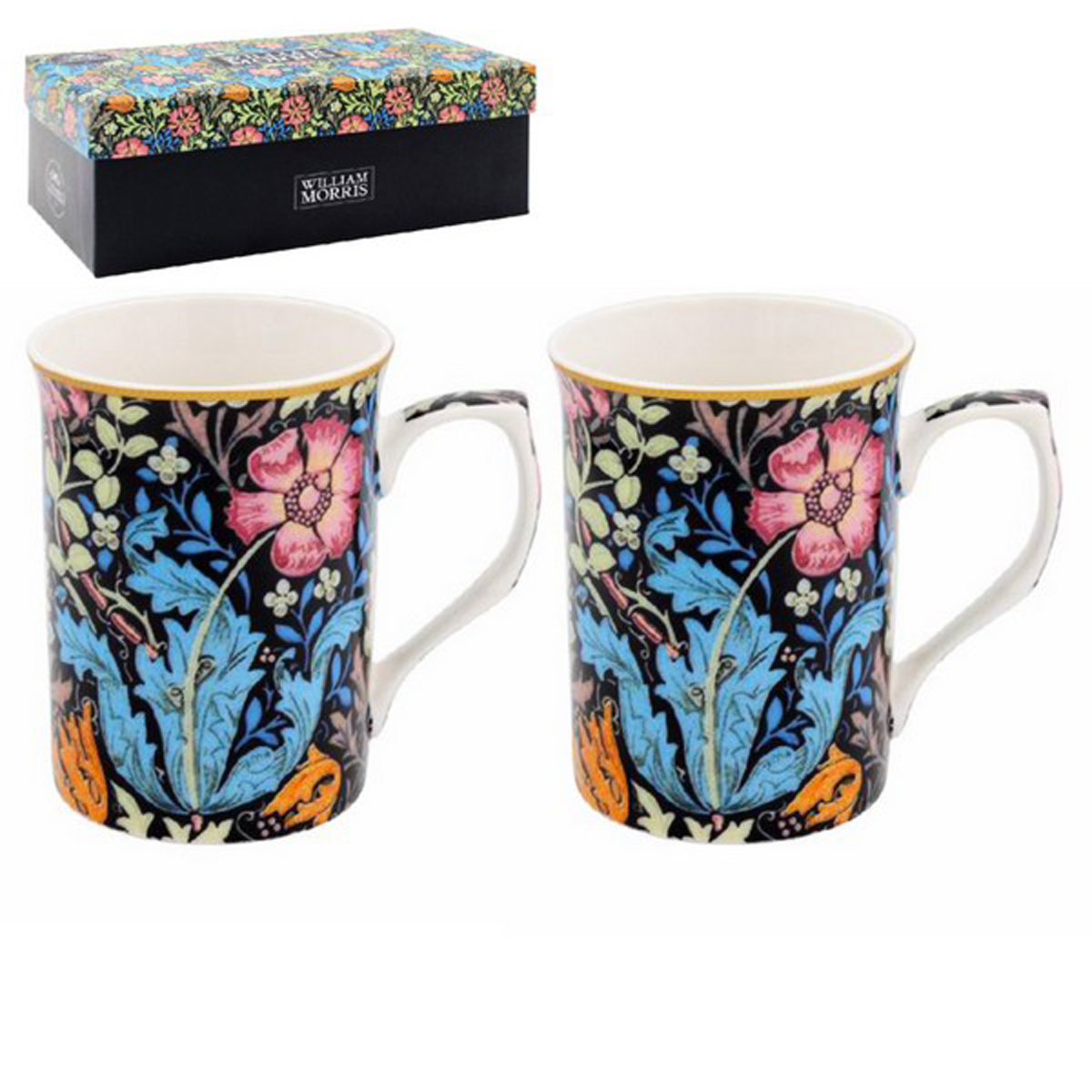 Coffret 2 mugs porcelaine \'William Morris Collection\' bleu multicolore (Compton) - 10x75 cm - [R2684]