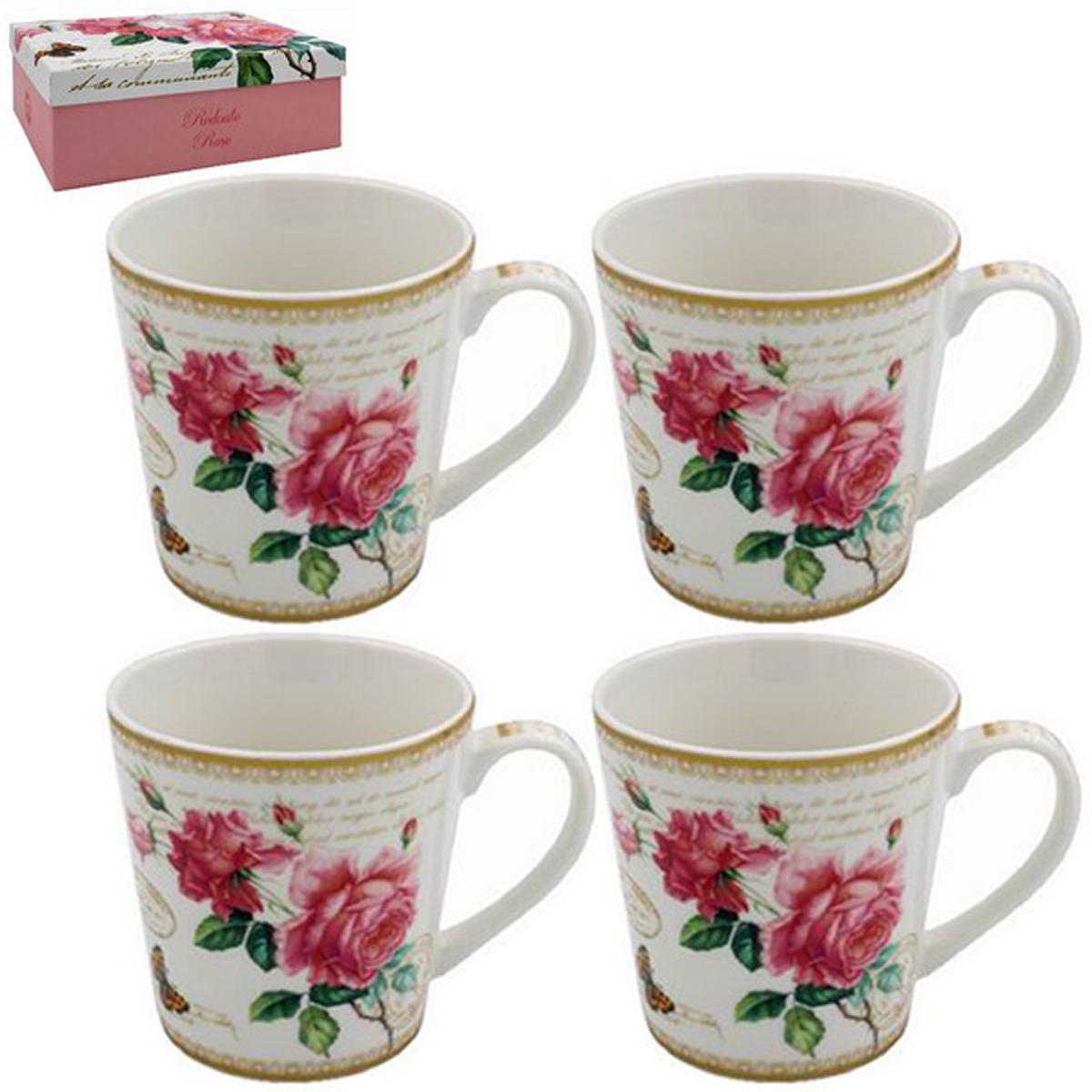 Coffret mugs porcelaine \'Redoute Rose\' rose blanc (4 mugs) - 85x85 mm  - [R2689]