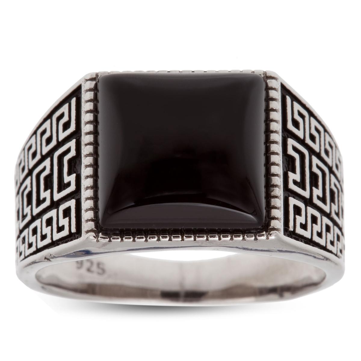 Bague Argent \'King\' noir argenté (rhodié) - 14x14 mm - [R3466]
