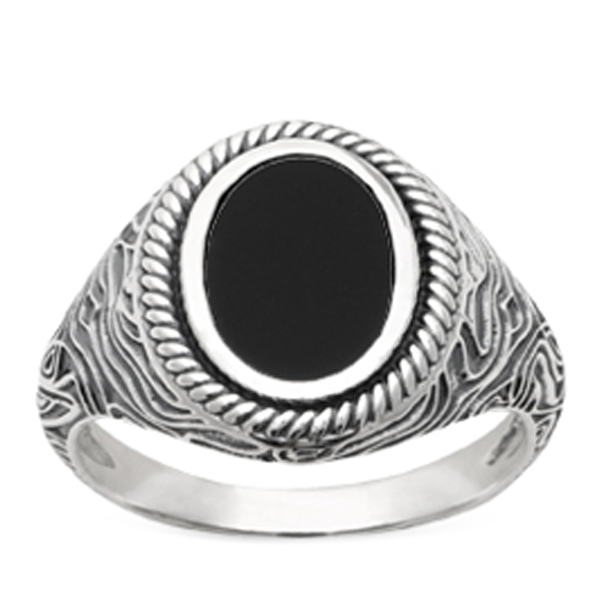 Bague Argent \'King\' noir argenté (rhodié) - 17x13 mm - [R3646]