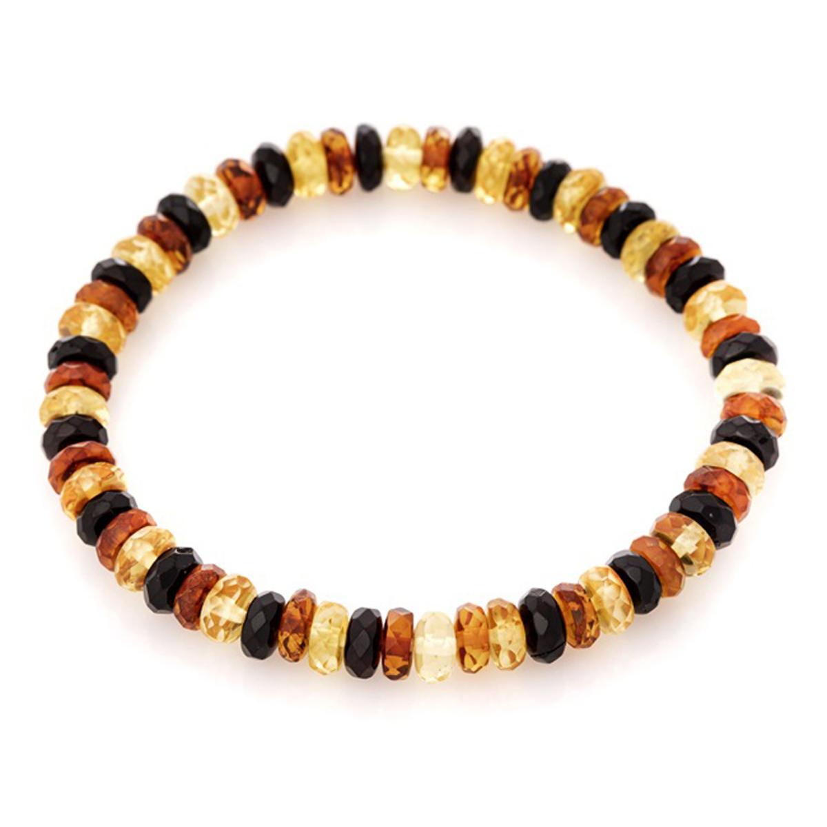 Bracelet \'Inspiration\' ambre 3 tons - 6 mm - [R3694]