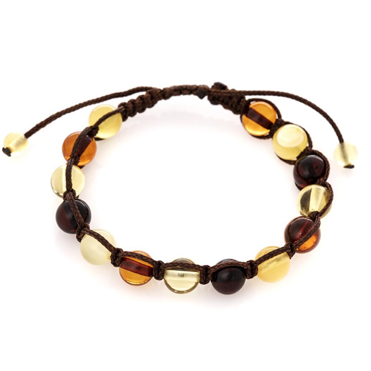 Bracelet artisanal \'Inspiration\' ambre 3 tons - 9 mm - [R3696]