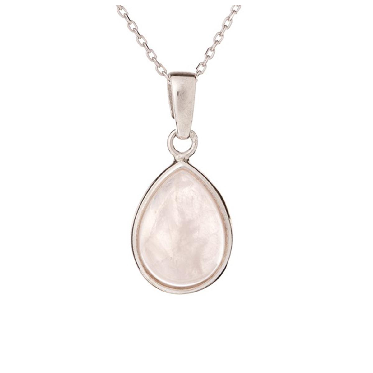 Pendentif Argent \'Meghan\' quartz rose argenté (rhodié) - 15x12 mm - [R3817]