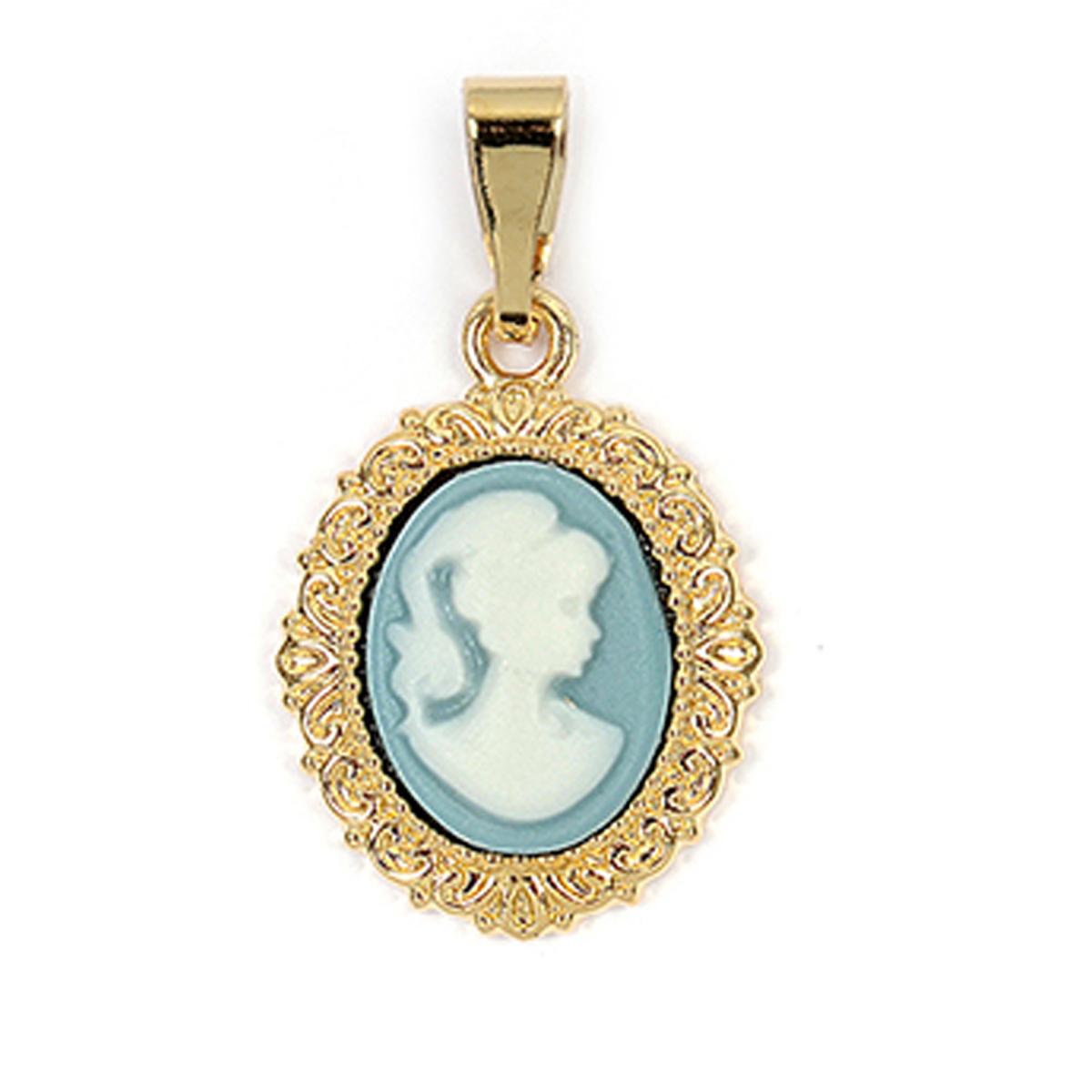 Pendentif Plaqué Or \'Camée\' Bleu doré - 15x12 mm - [R3890]