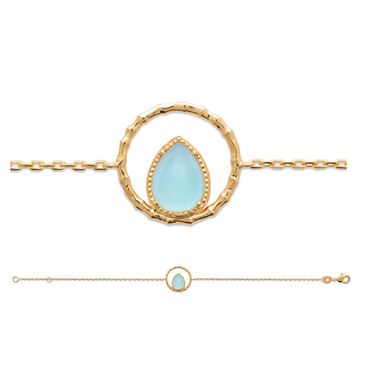 Bracelet Plaqué Or \'Cléopatra\' agate bleue doré - 14x14 mm - [R3956]