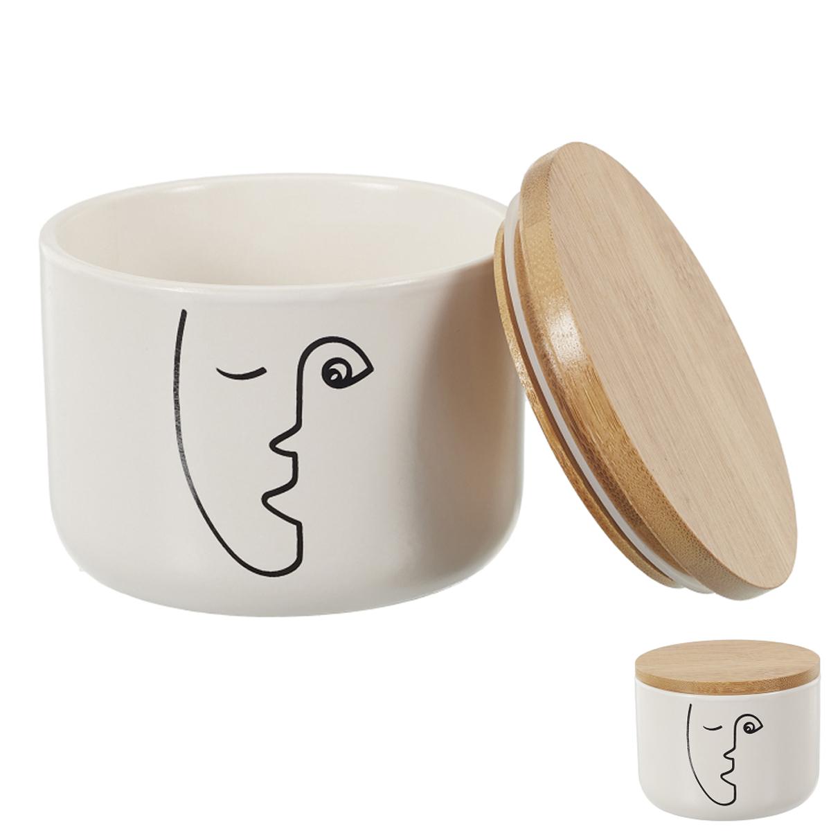 Boite céramique bois \'Arty\' noir blanc - 10x8 cm - [A1458]