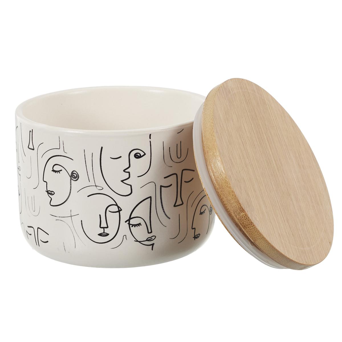 Boite céramique bois \'Arty\' noir blanc - 10x8 cm - [A1459]
