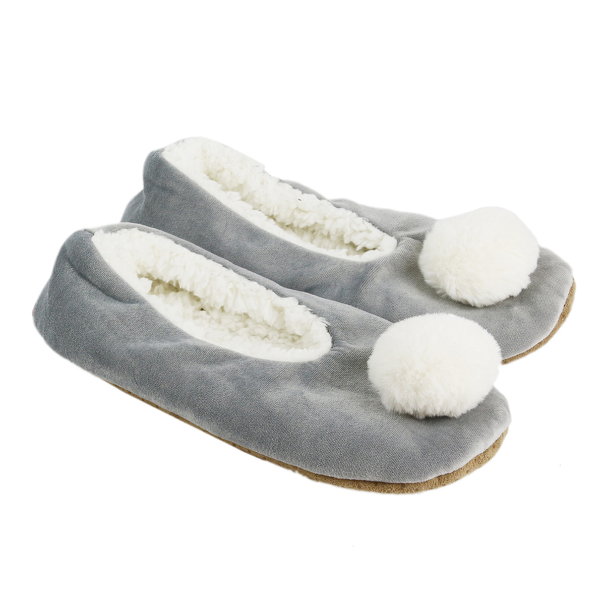 Chausson ballerines \'Sherpa\' gris - taille 36/38 - [A1467]