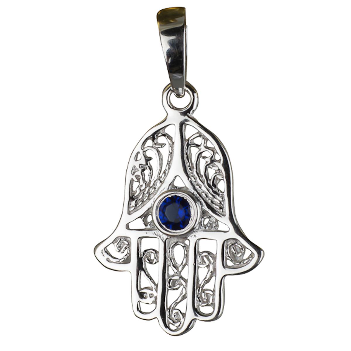 Pendentif Argent \'Main Fatma\' bleu saphir argenté (rhodié) - 20x15 mm - [E3930]
