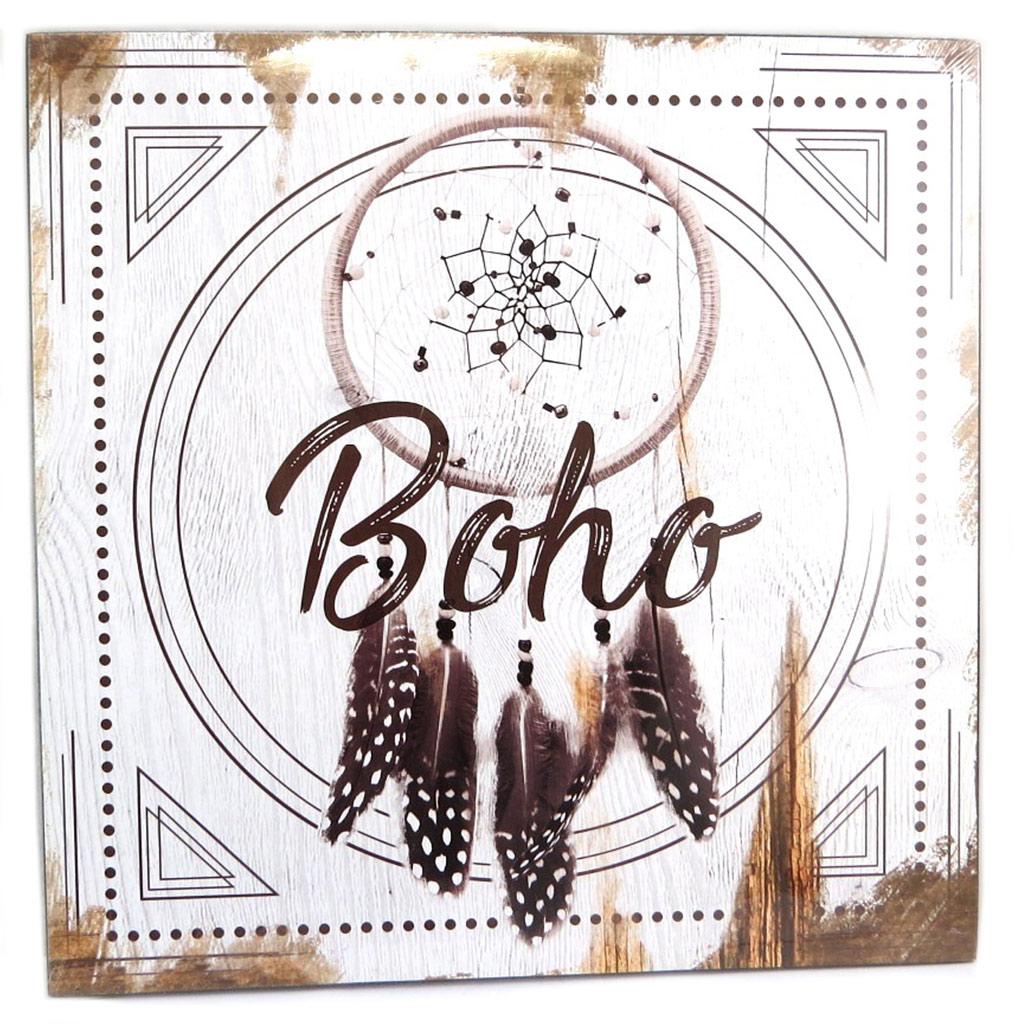 Cadre bois \'Boho\' gris beige marron (dreamcatcher) - 30x30 cm - [P8773]