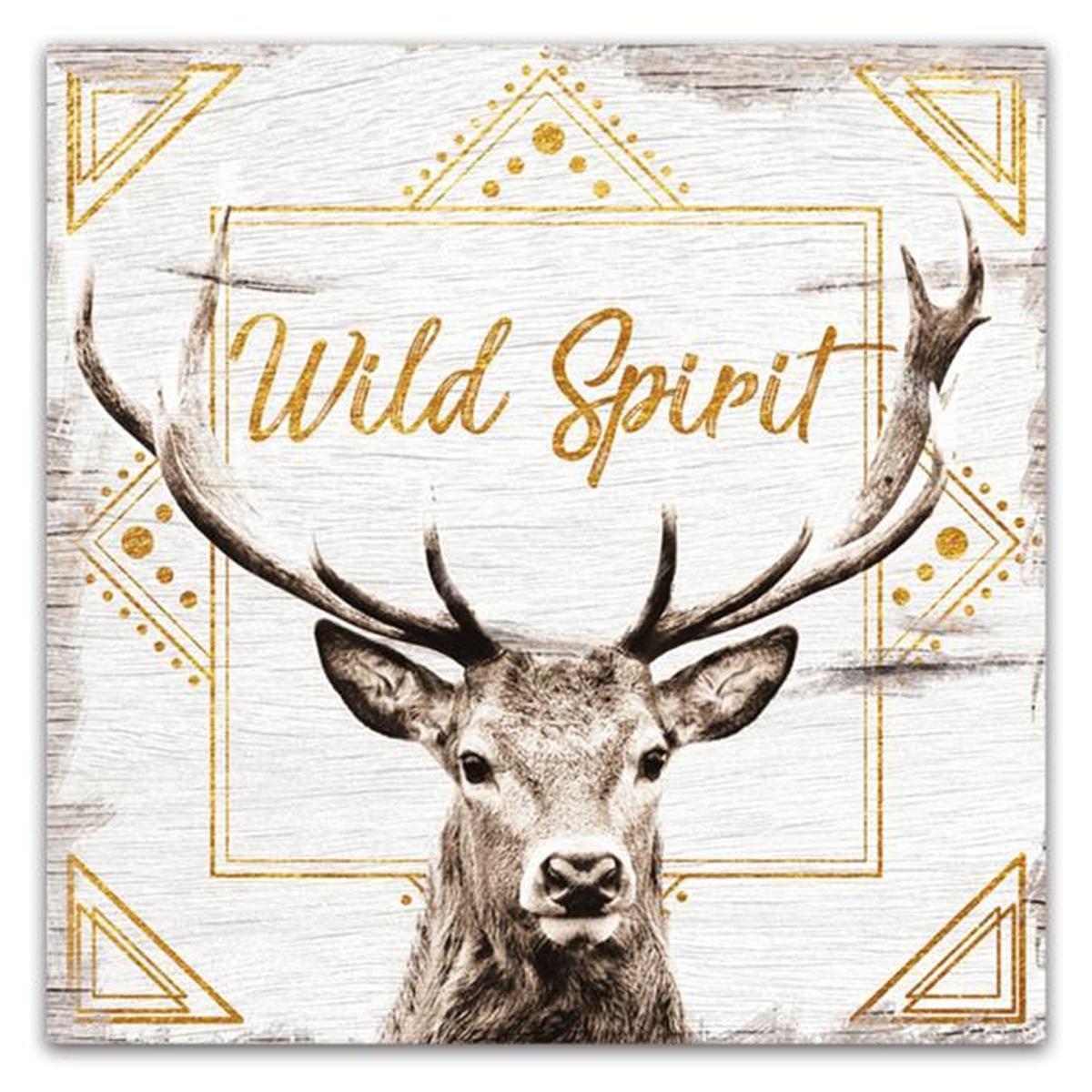 Cadre bois \'Boho\' gris beige marron (Wild Spirit) - 30x30 cm - [Q3240]
