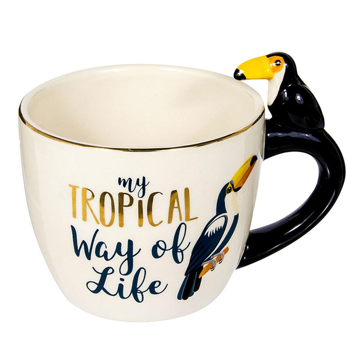 Mug céramique \'Tropical\' noir beige (toucan) - 95x8 cm (25 cl) - [R0311]