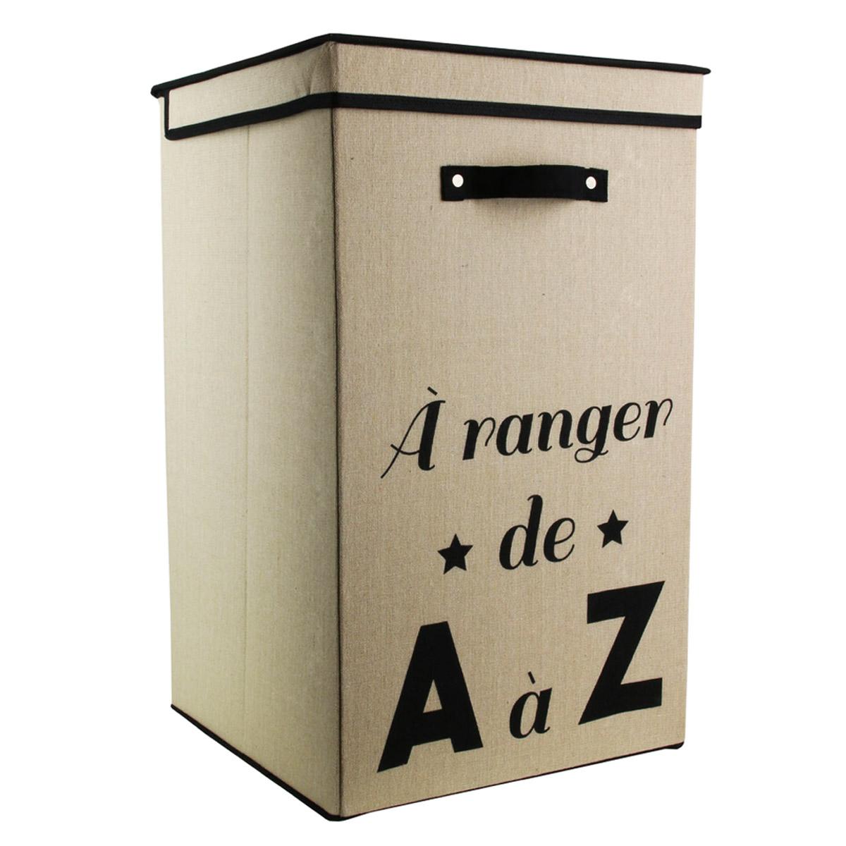 Bac à linge coton \'Messages\' beige (A ranger de A à Z) - 58x35x35 cm (70L) - [R2471]