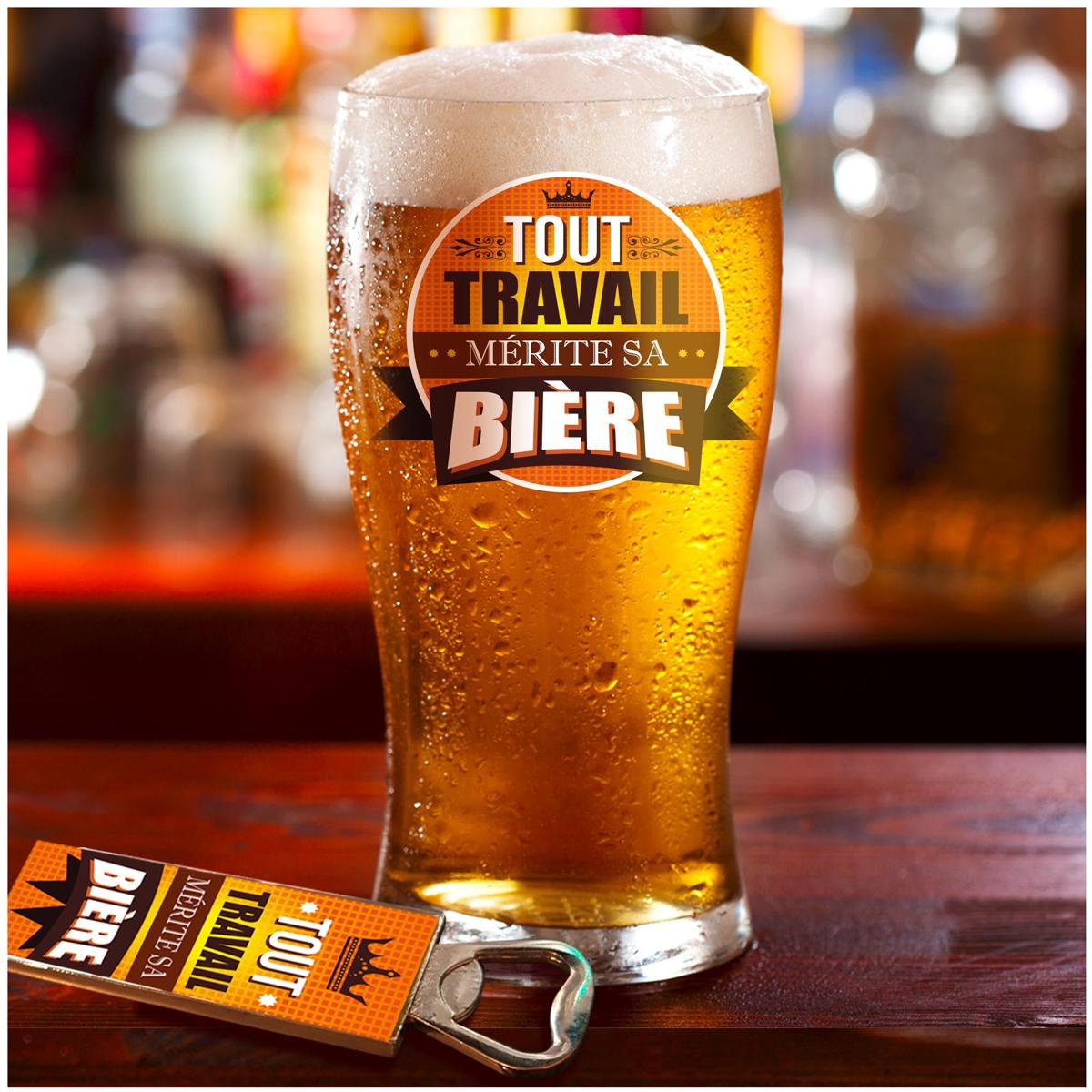 Coffret verre à bière et décapsuleur \'Tout Travail Mérite Sa Bière\' - 19x15x9 cm  - [A1522]