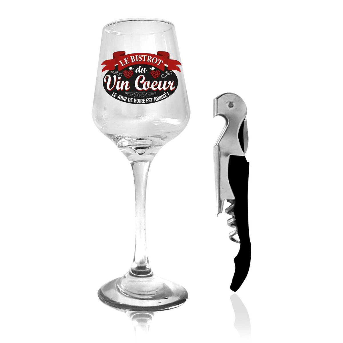 Coffret verre à vin et limonadier \'Le Bistrot du Vin Coeur\' - verre 20x7 cm - [A1524]