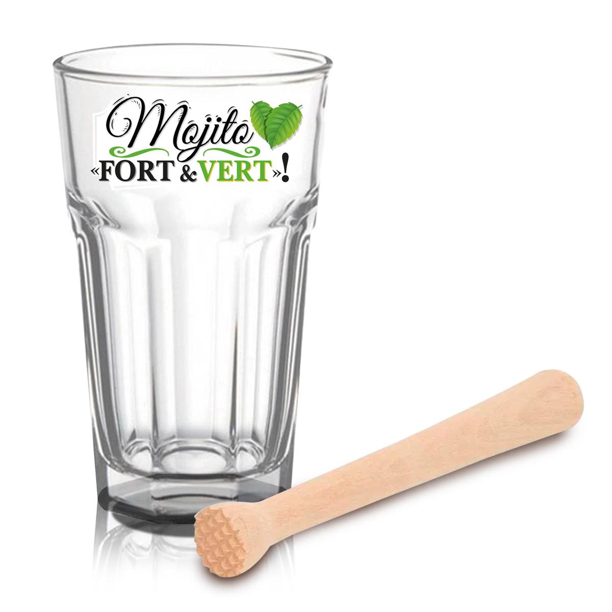Coffret verre à bière et pilon à cocktail \'Mojito\' - 19x15x9 cm (Fort et Vert !) - [A1526]