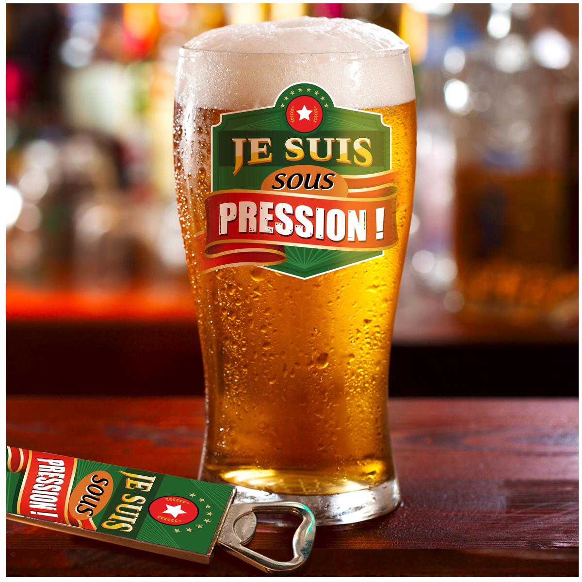 Coffret verre à bière et décapsuleur \'Je suis sous Pression !\' - 19x15x9 cm  - [A1541]