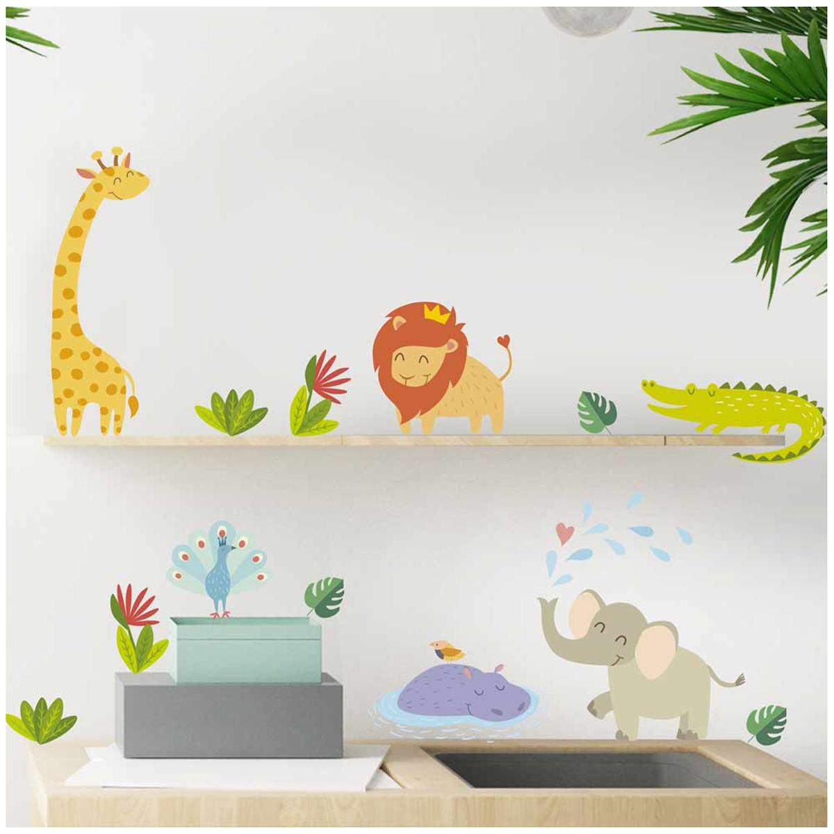 Planche de stickers \'Animaux de la Jungle\' multicolore - 20x70 cm - [A1556]