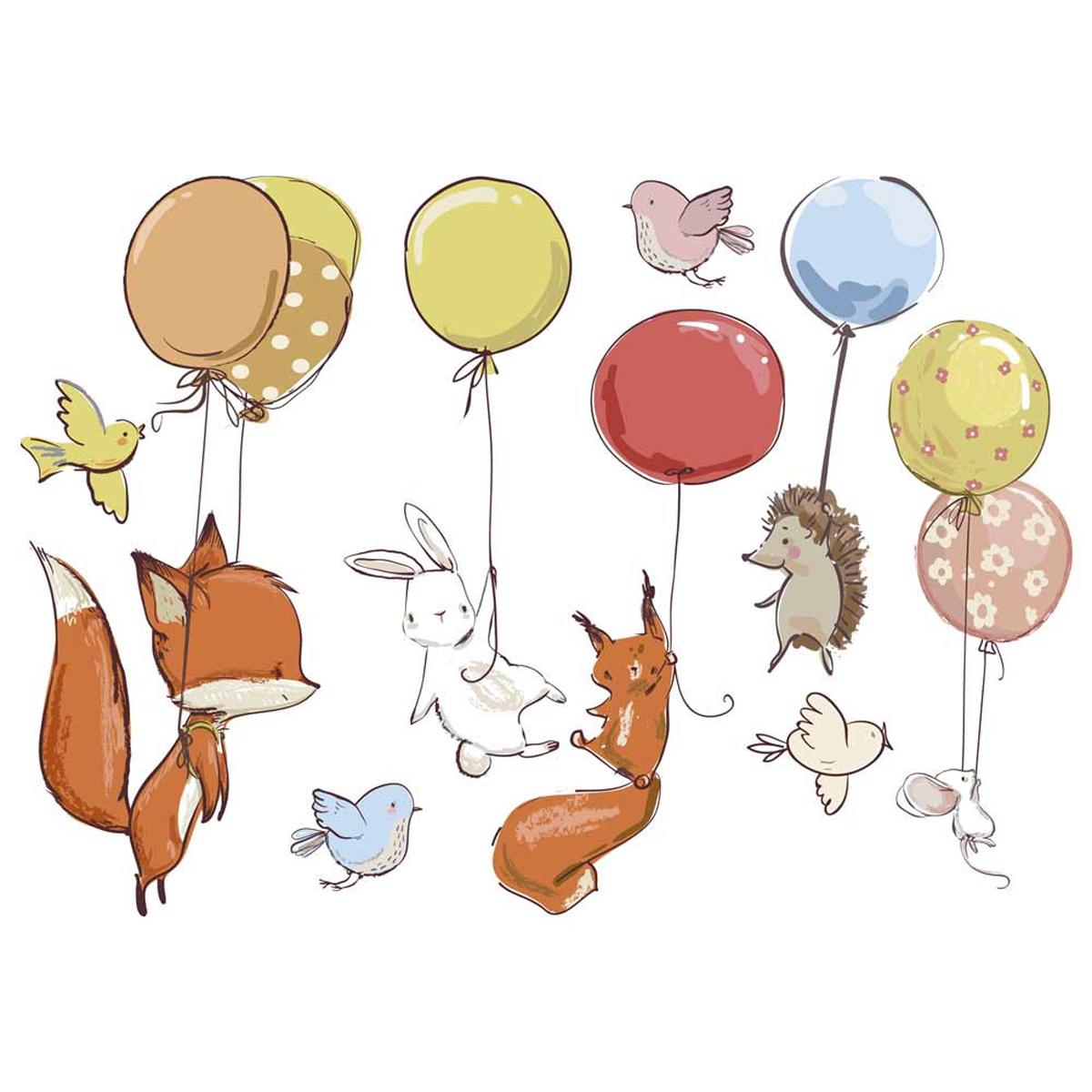 Planche de stickers \'Animaux et Ballons\' multicolore - 50x70 cm - [A1561]