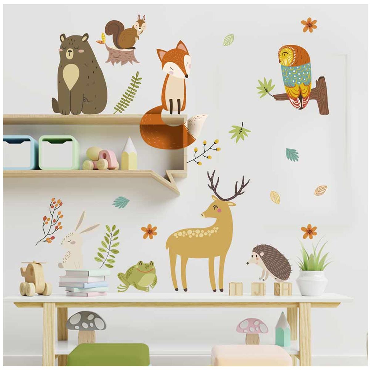 Planche de stickers \'Animaux de la Forêt\' multicolore - 50x70 cm - [A1562]