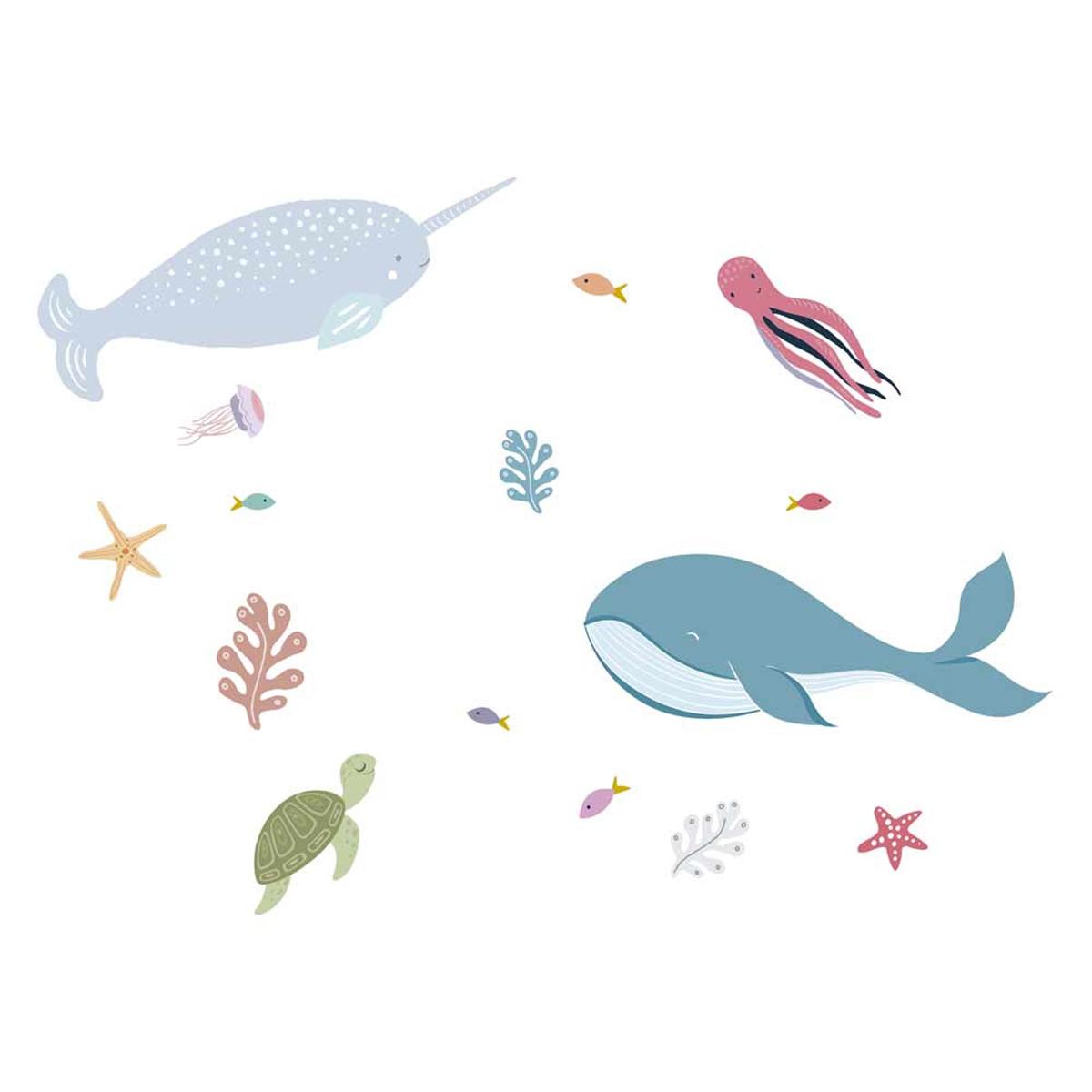 Planche de stickers \'Animaux des Fonds Marins\' multicolore - 50x70 cm - [A1564]