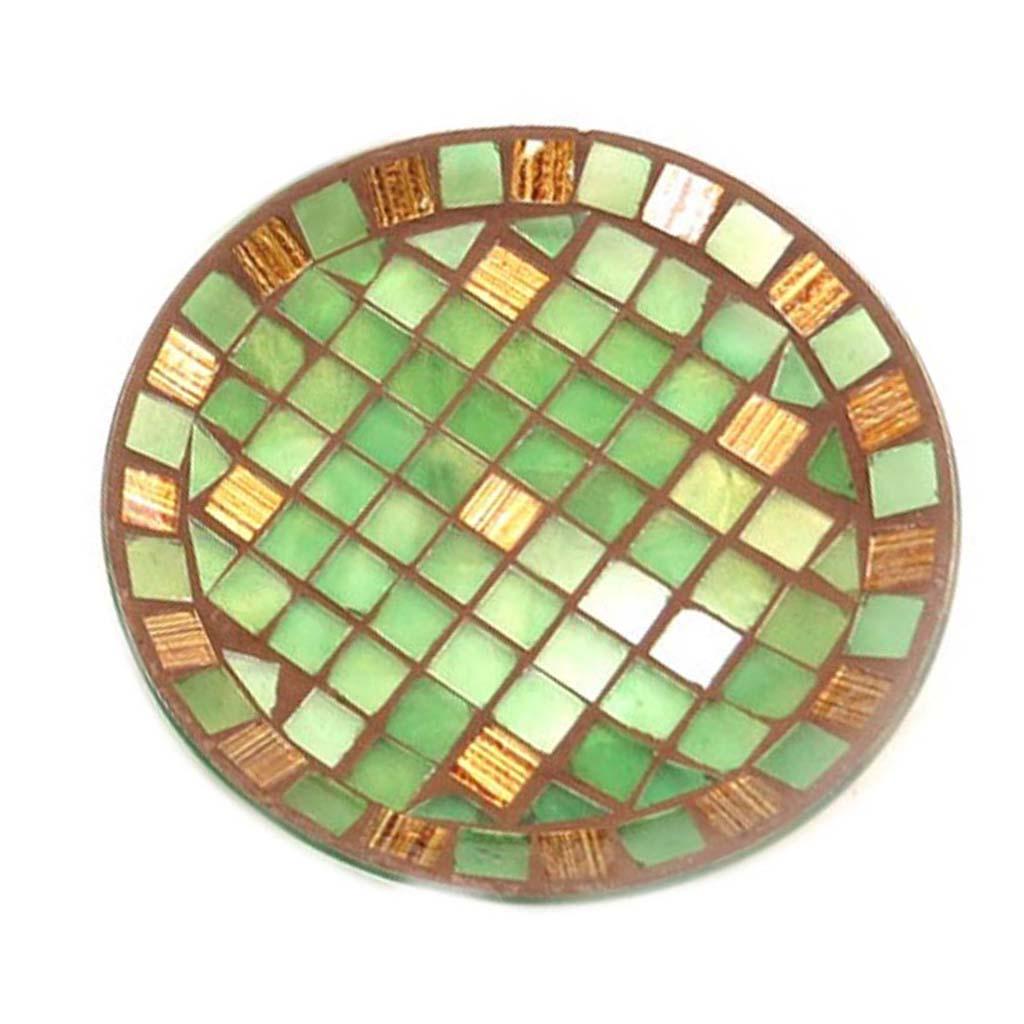 Coupelle verre \'Mosaïca\' vert ambre - 14 cm - [A1567]