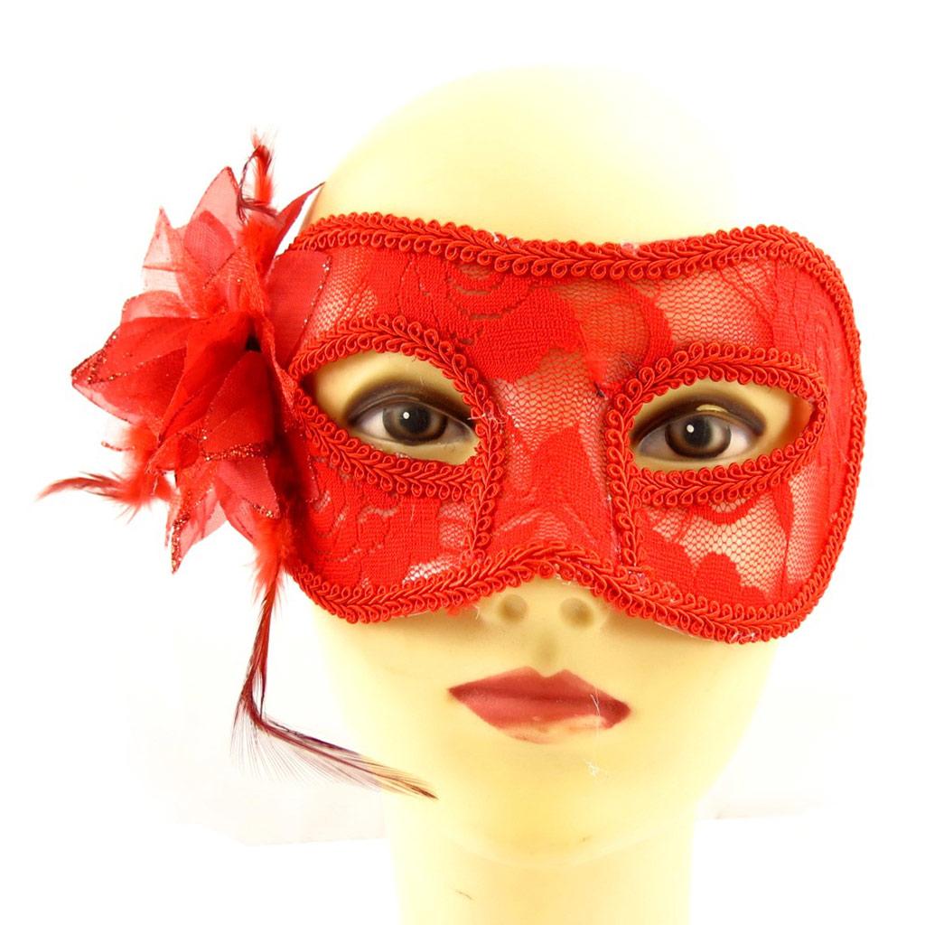 Masque dentelle \'Carnaval de Venise\' rouge - 21x8 cm - [A1568]