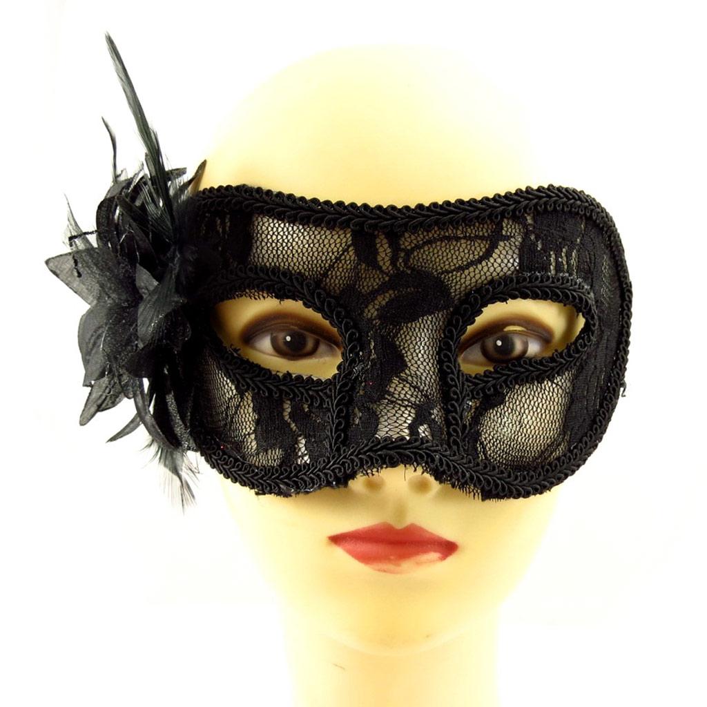 Masque dentelle \'Carnaval de Venise\' noir - 21x8 cm - [A1569]