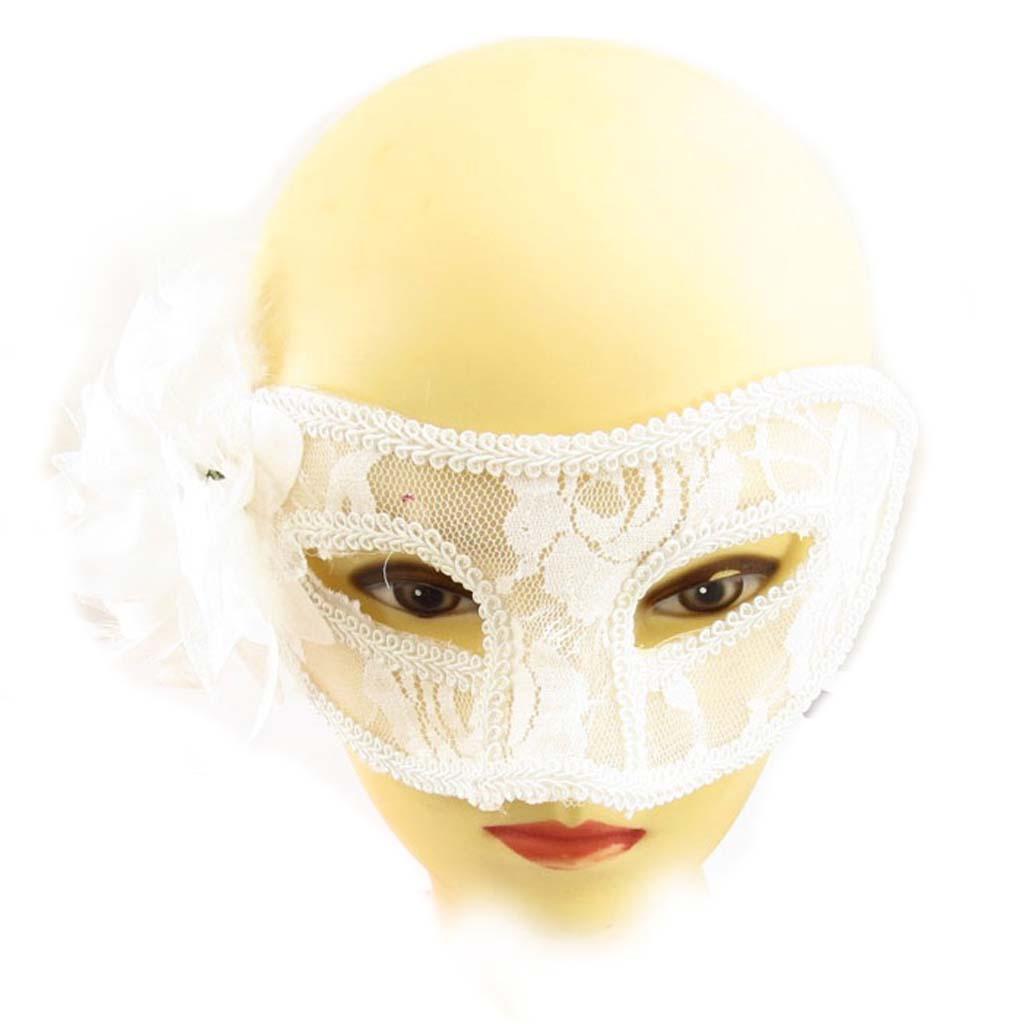 Masque dentelle \'Carnaval de Venise\' blanc - 21x8 cm - [A1571]