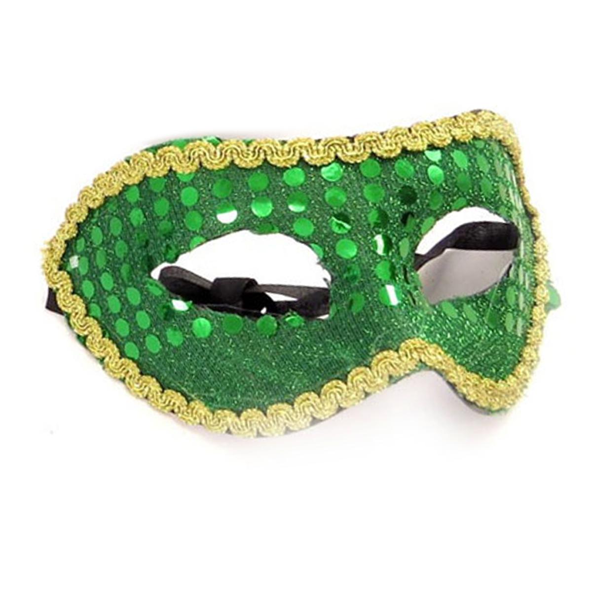 Masque paillettes \'Carnaval de Venise\' vert - taille unique - [A1573]