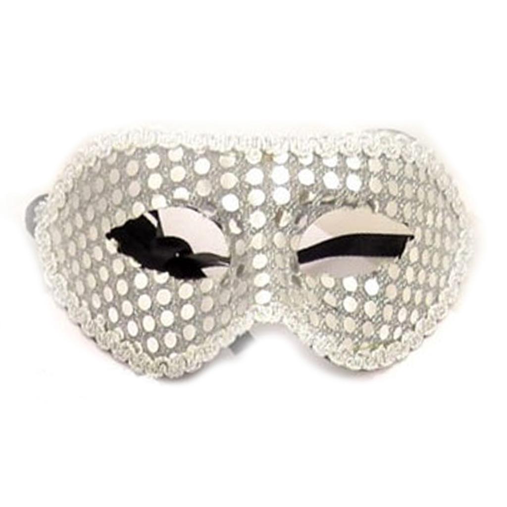 Masque paillettes \'Carnaval de Venise\' argenté - taille unique - [A1574]