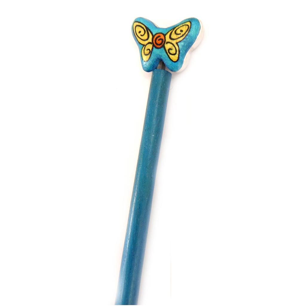 Picot chignon bois \'Papillons\' bleu - 21 cm, 30x25 mm - [A1578]